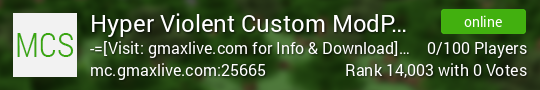 Hyper Violent Custom ModPack Server Minecraft server